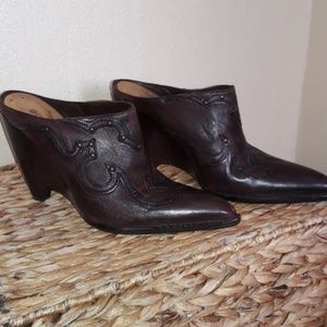 BCBGirls Genuine Leather Backless Booties